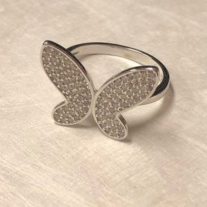 Sterling Silver CZirconia Butterflies Ring